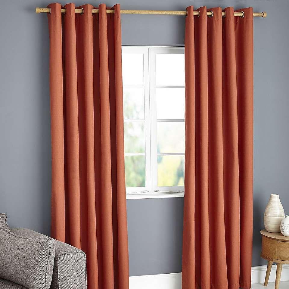 Payson Orange Blackout Eyelet Curtains