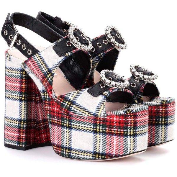 Miu Miu Embellished plaid sandals Ju3owTd