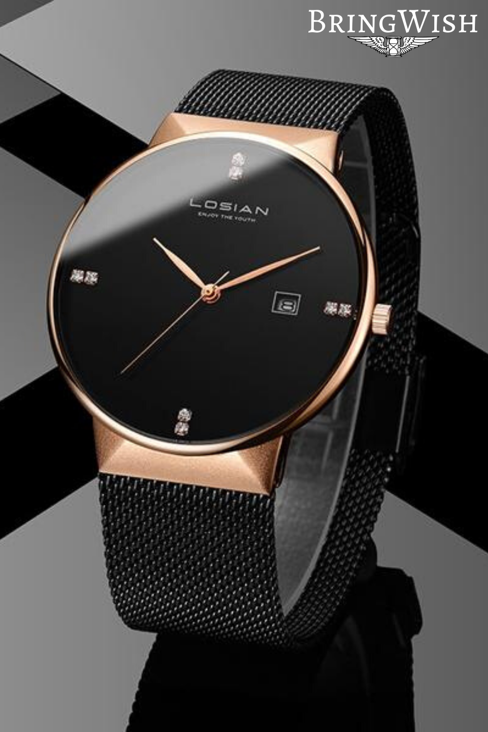 Diamond Minimalist Rose Gold Watch With Black Band Band Black Diamond Gold Mensaccesso In 2020 Luxury Watches For Men Mens Accessories Fashion Watches For Men