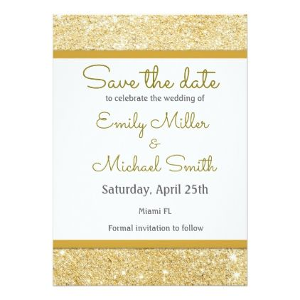 Glitter Gold Wedding Save The Date Card - glitter gifts personalize - formal invitation style