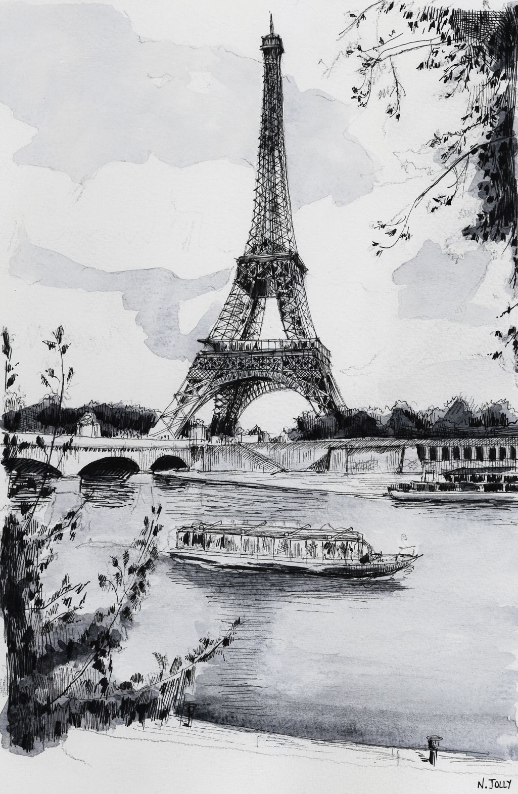 Watercolor / Aquarelle – La Seine et la Tour Eiffel