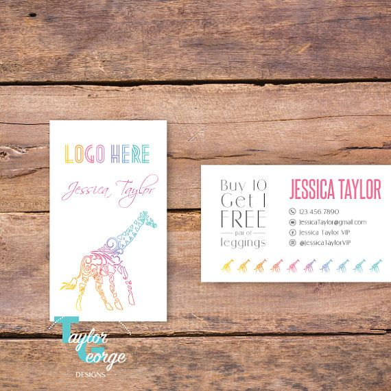 Tribal Giraffe lularoe Business Card Punch Card Fashion