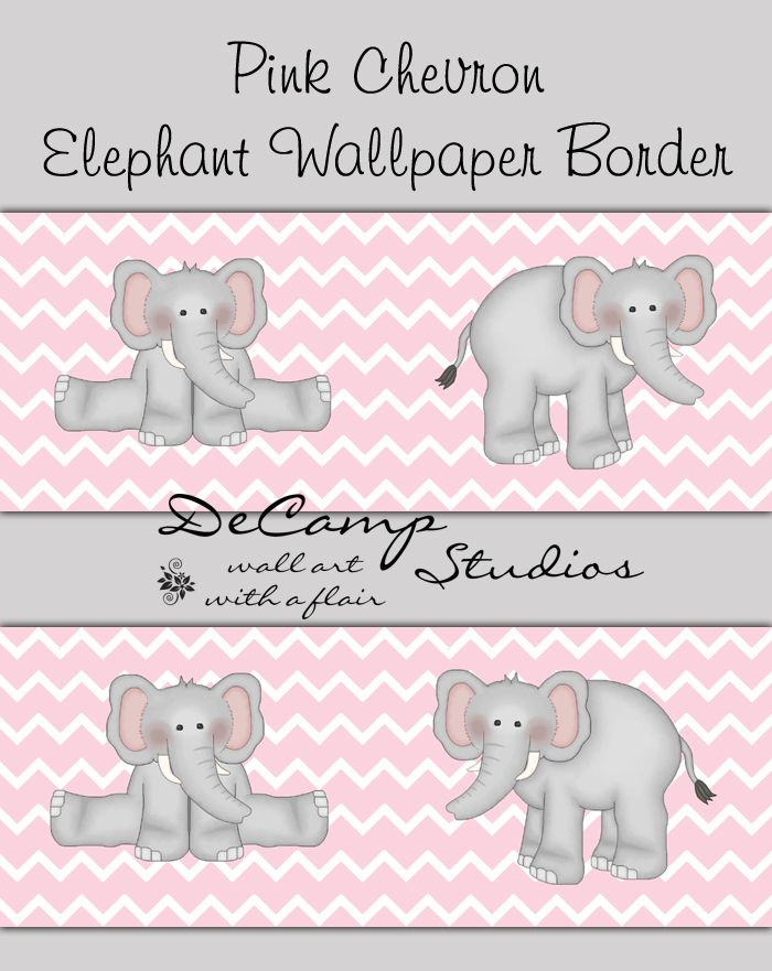 Pink And Grey Elephant Chevron Wallpaper Border Wall Decals For