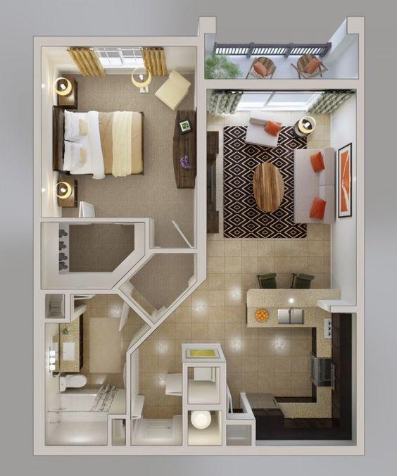 50 Plans en 3D du0027appartement avec 1 chambres House, Tiny houses - maison en 3d gratuit