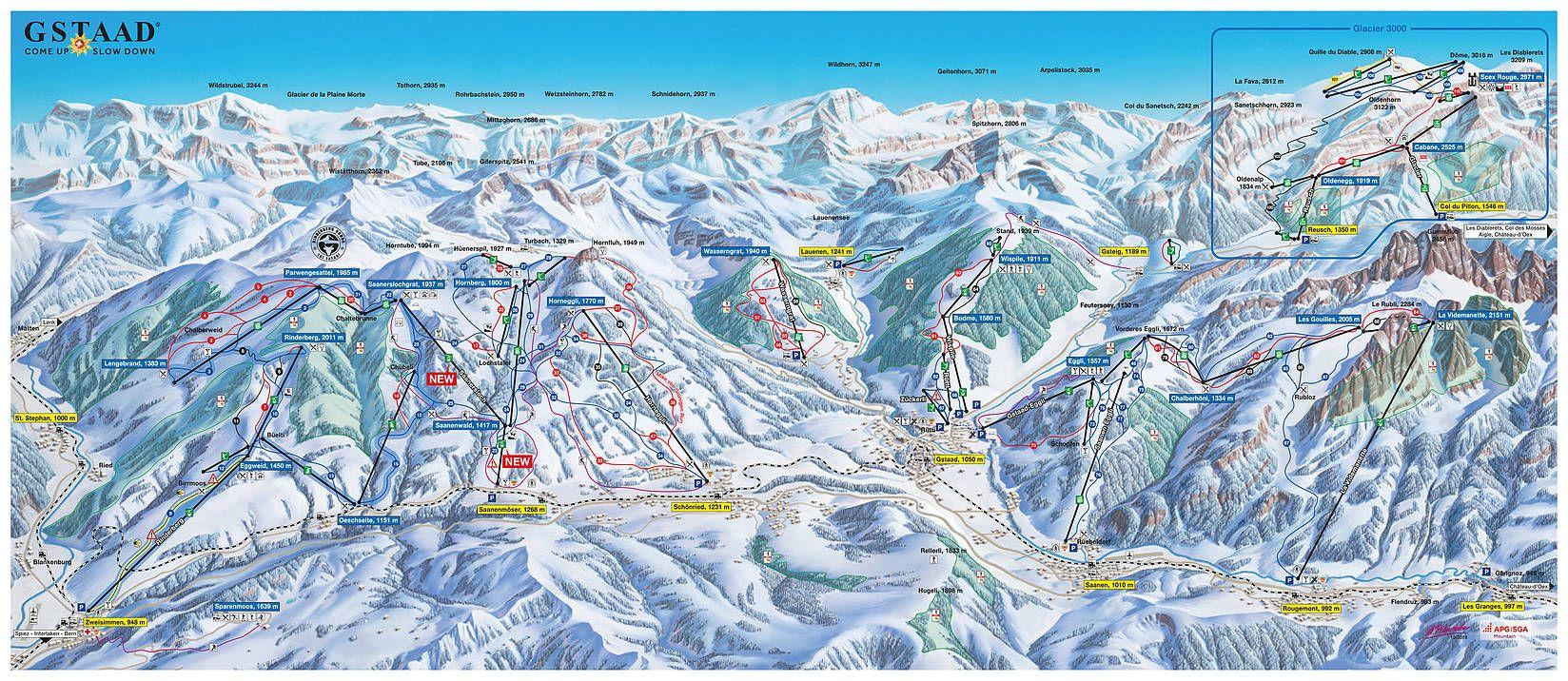 Gstaad Pistenplan Ski Trail Map Skigebiete Kartographie