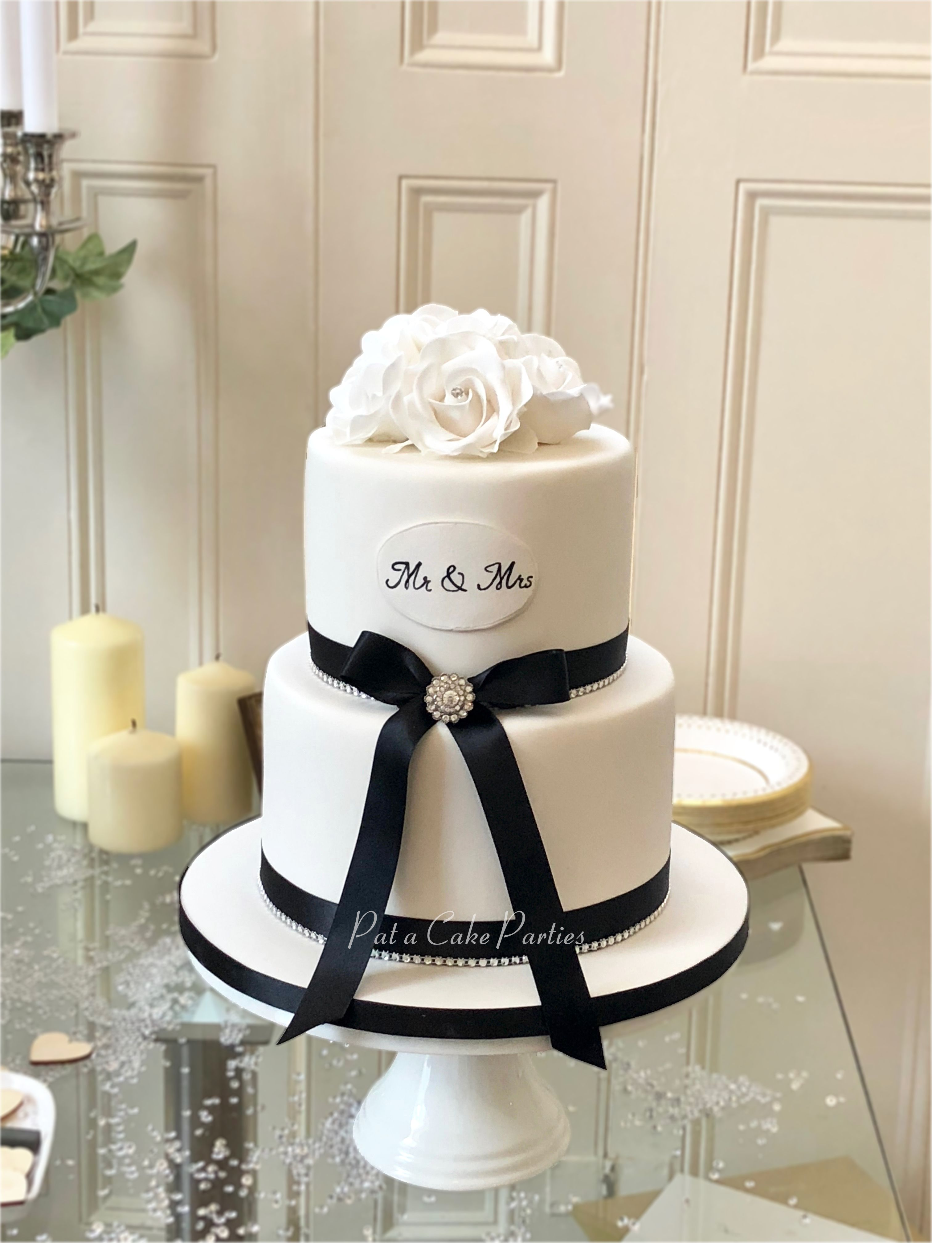 Simple But Elegant Two Tier Wedding Cake With Hand Made Sugar