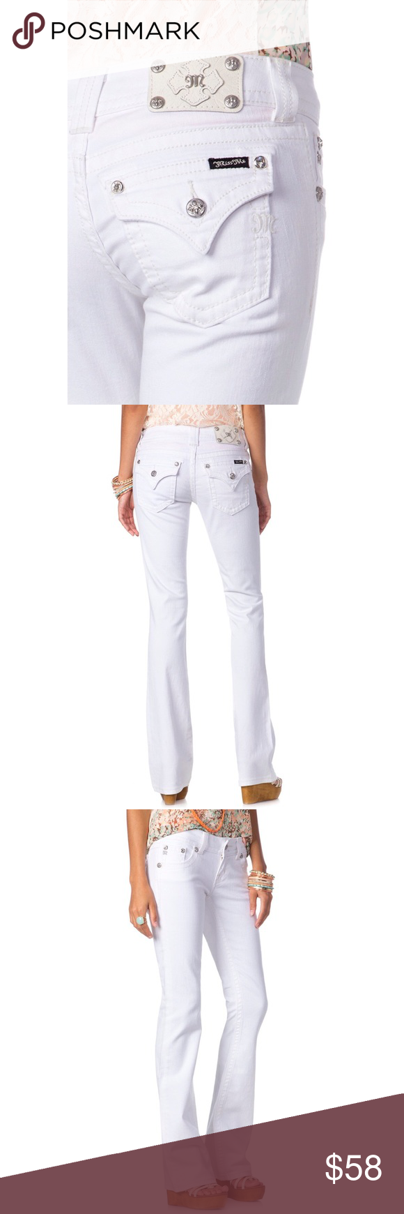 "Miss Me White Bootcut Jeans Adorable, immaculate condition Miss Me white denim boot cut jeans featuring flap pockets, crystal rivers, and silver logo hardware. 98% cotton. 2% Elastane. Size 27. Inseam 34"". Miss Me Jeans Boot Cut"