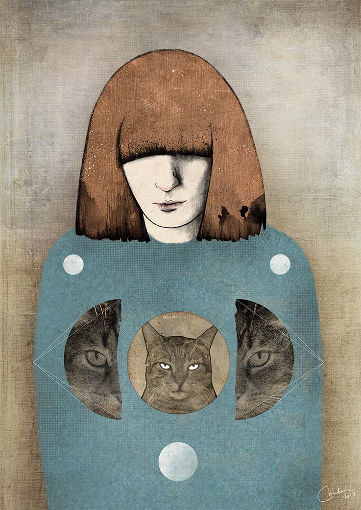 Florence and the cats - mixed media illustration Florence Welch