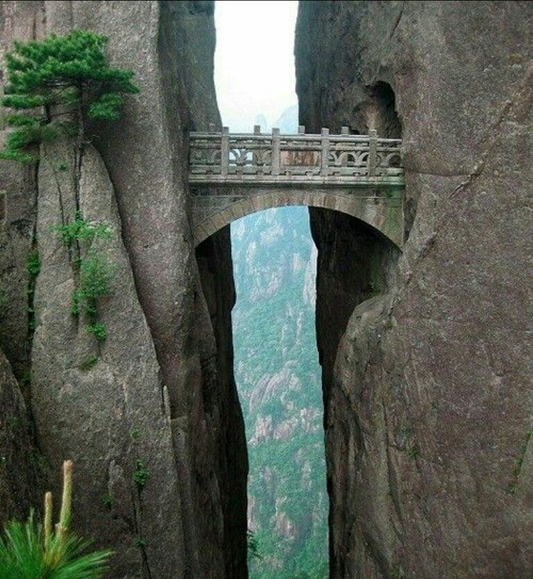 The Bridge of the Immortals in Huangshan, China. Posted by R. Baraban on Twitter. How did they build this?