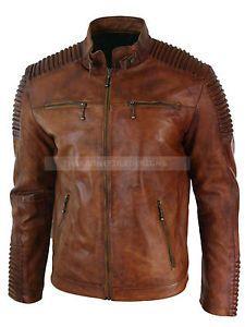 19c6fa4ee88 para hombre biker vintage moto chaqueta de cuero marron envejecido cafe  racer - Categoria  Avisos