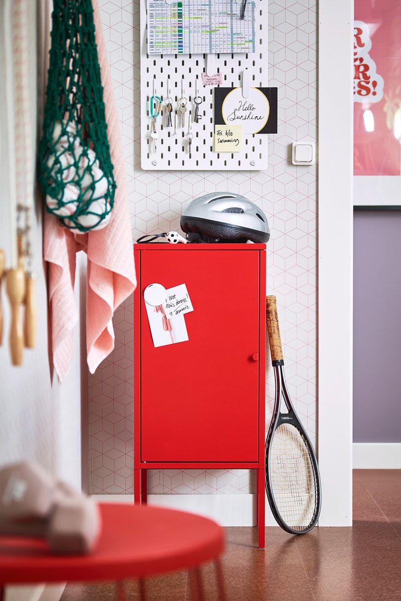 Lixhult Schrank Metall Rot Ikea Deutschland Paper Storage