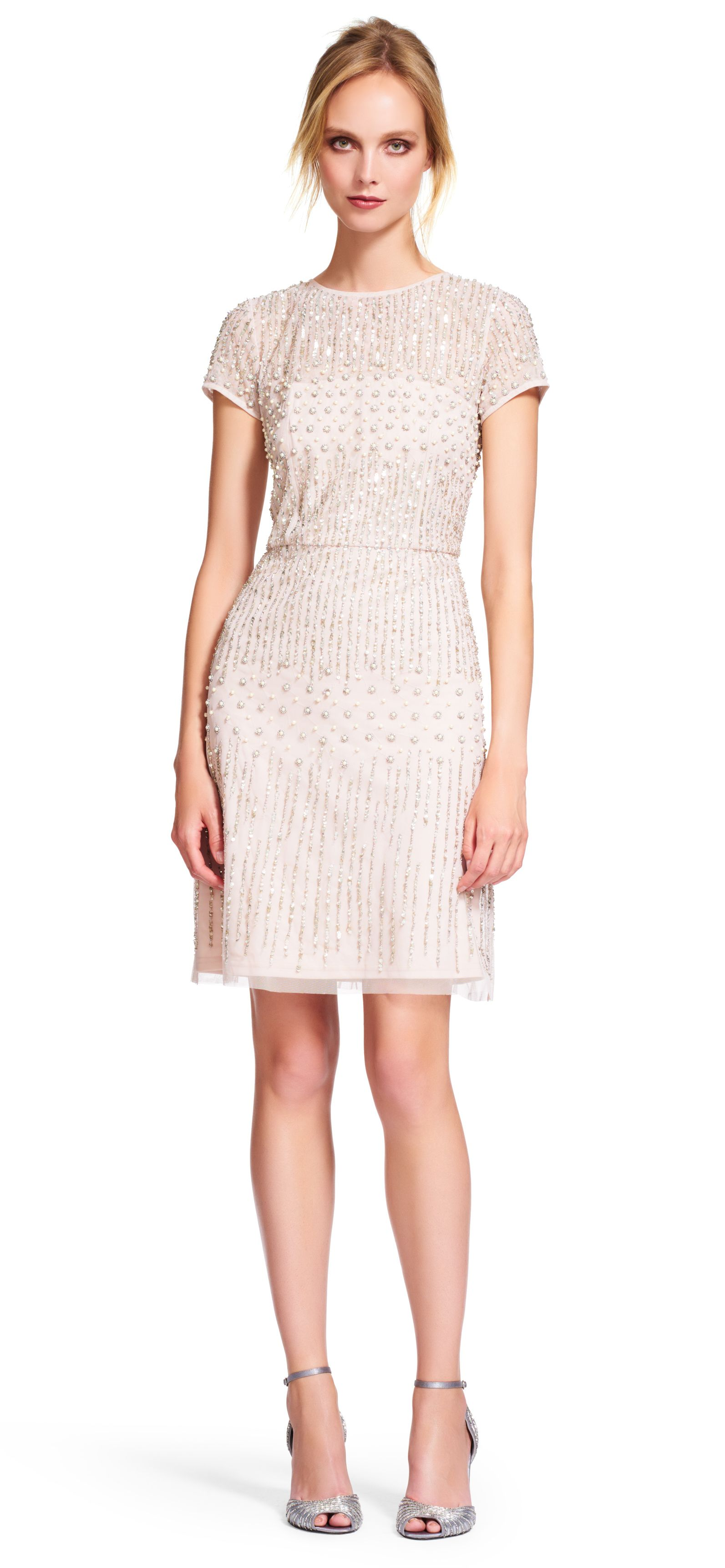 Short Sleeve Beaded Cocktail Dress | Adrianna papell, Cap and Short ...