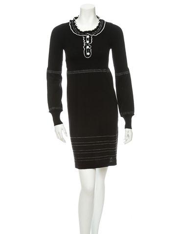 Fendi Black and white wool long sleeve pullover dress.