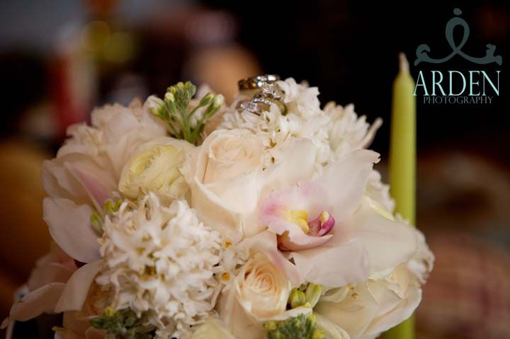 Bridal Bouquet with cream and white flowers. A little Splash of Pink