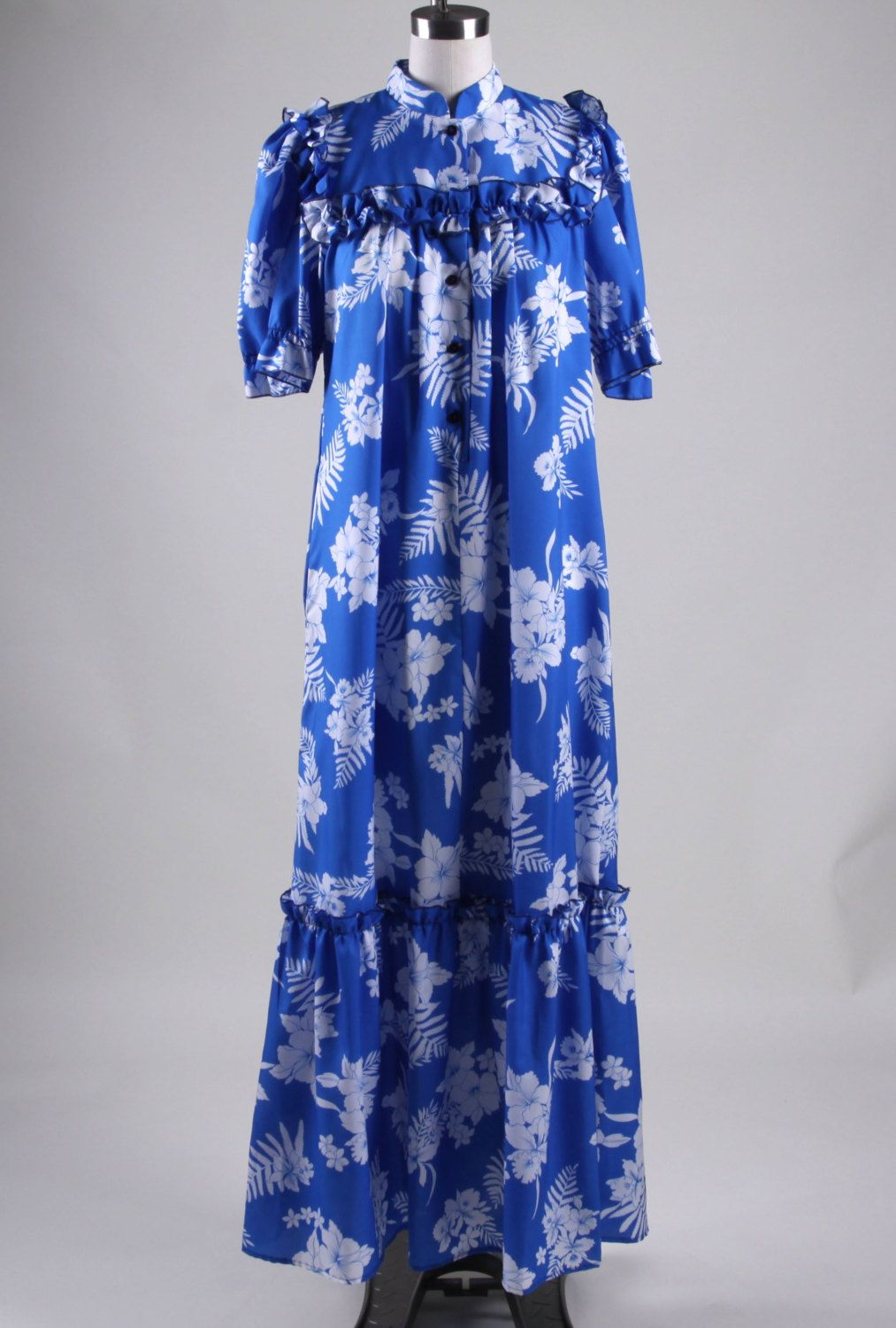 Vintage Hawaiian Muumuu Luau Party Dress Thin Polyester Maxi Dress ...