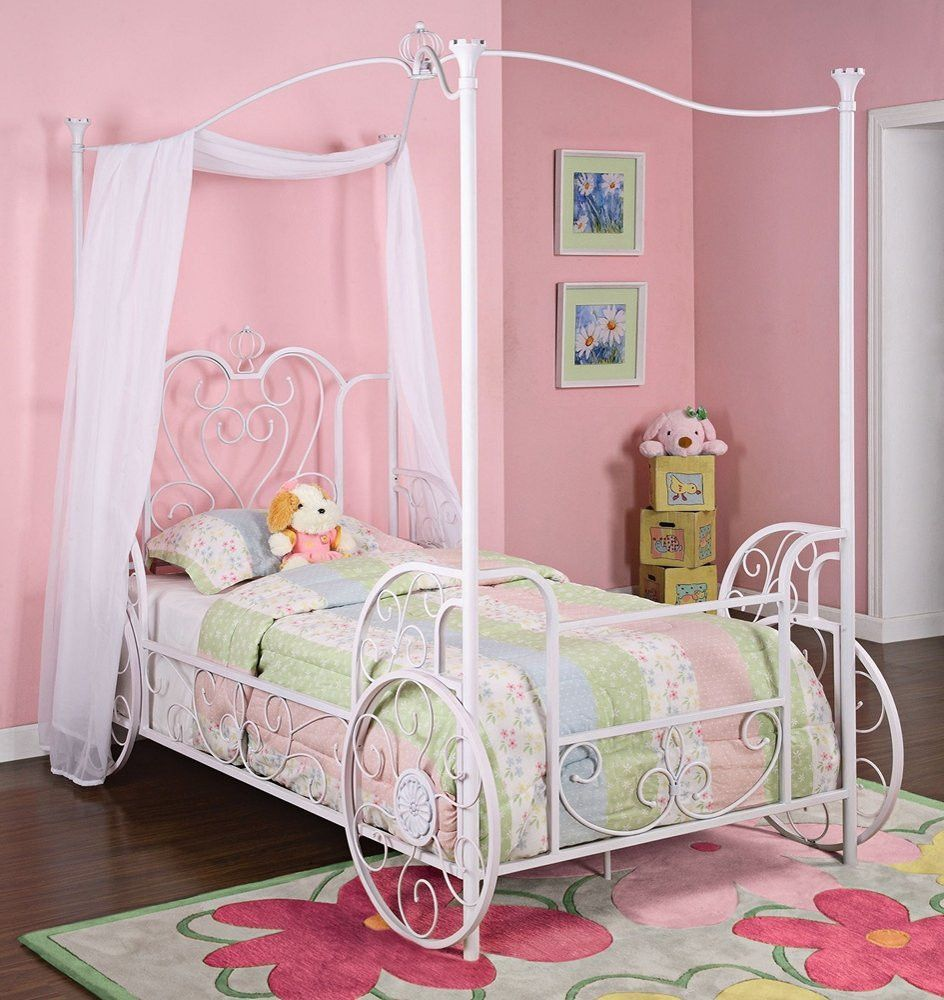 Princess Emily Carriage Twin Metal Canopy Bed in White
