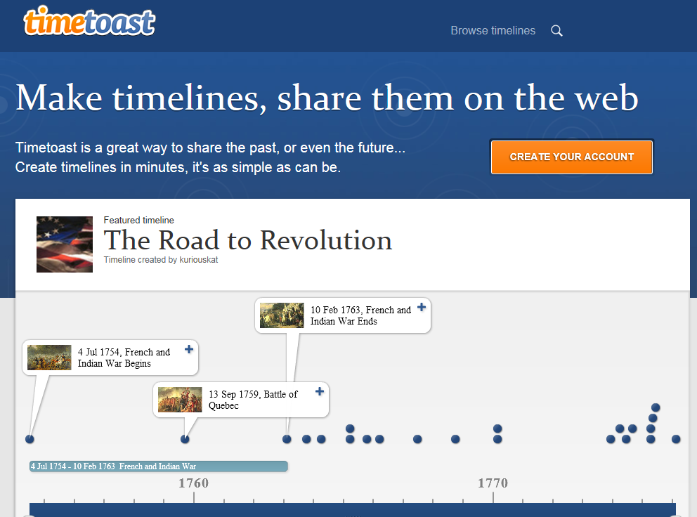 free online timeline generator timetoast is a great tool that allows you to create timelines and share them on the web it is very easy to learn and use