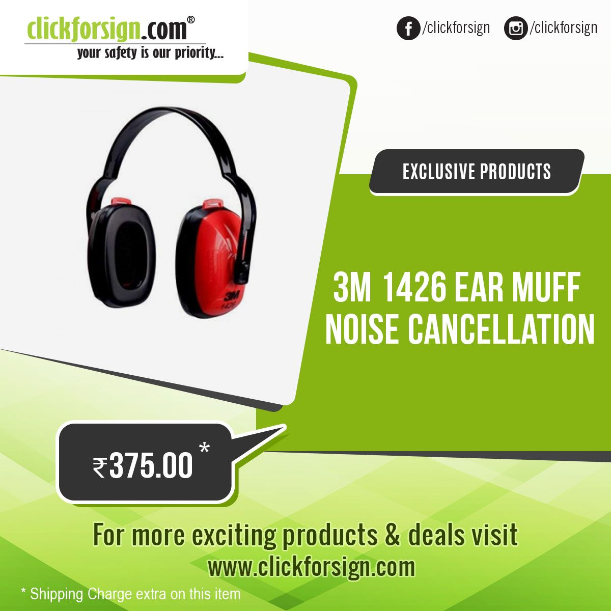3M 1426 Ear muff Noise Cancellation / Hearing Protection