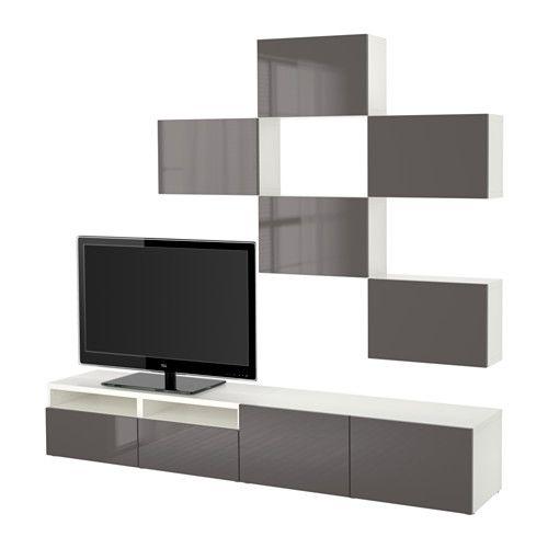 best combinaison meuble tv blanc selsviken brillant. Black Bedroom Furniture Sets. Home Design Ideas