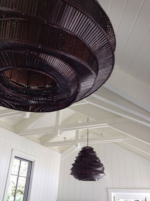 Ceiling detail and interesting light fittings via Wendy Posard & Assoc
