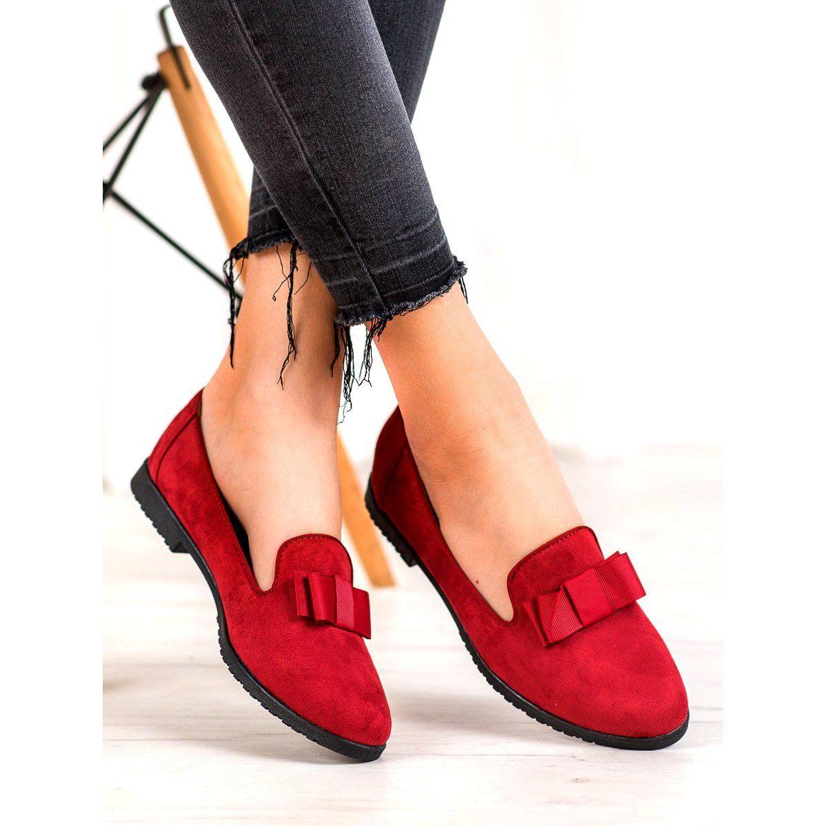 Miss Laura Lordsy Z Kokardka Czerwone Shoes Mule Shoe Slippers