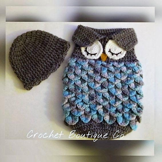 Crochet OWL PATTERN - Baby Owl Cocoon and Hat - Baby Sack & Baby Cap ...