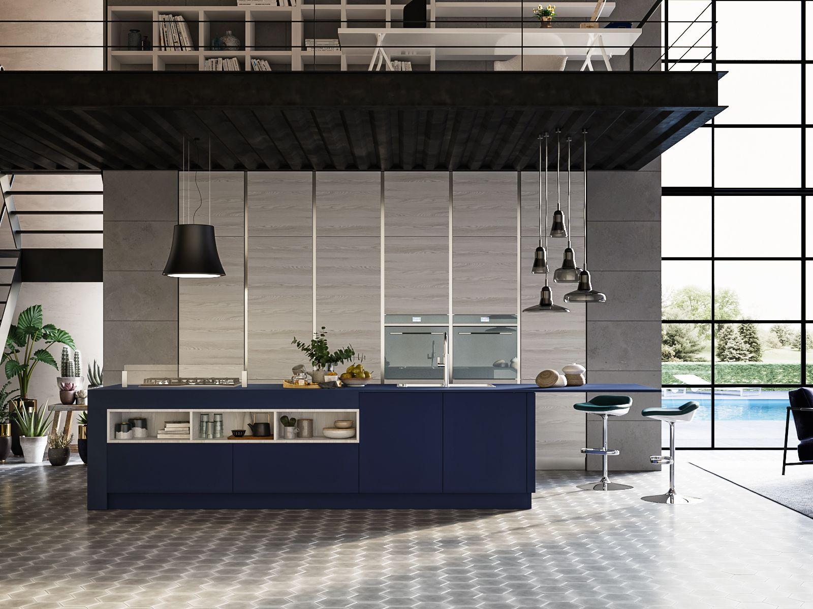 Ilot Central Table Et Rangement ~ Cuisine Bleu Et Bois Clair Finition Mat Sans Poign Es Ilot