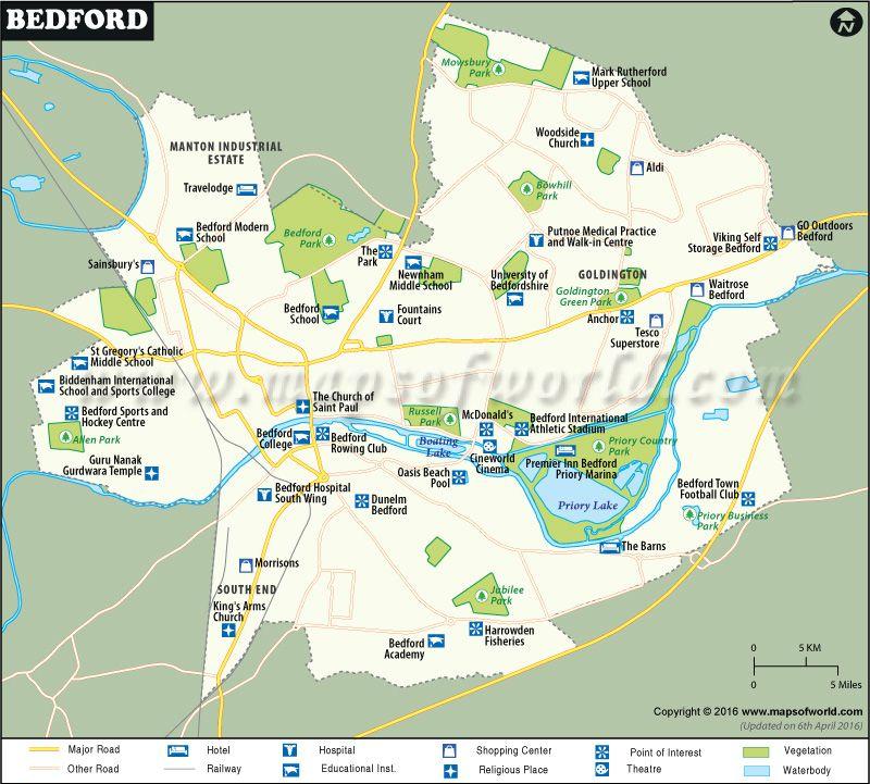 Bedford City Map Maps Pinterest Bedford Town FC City maps