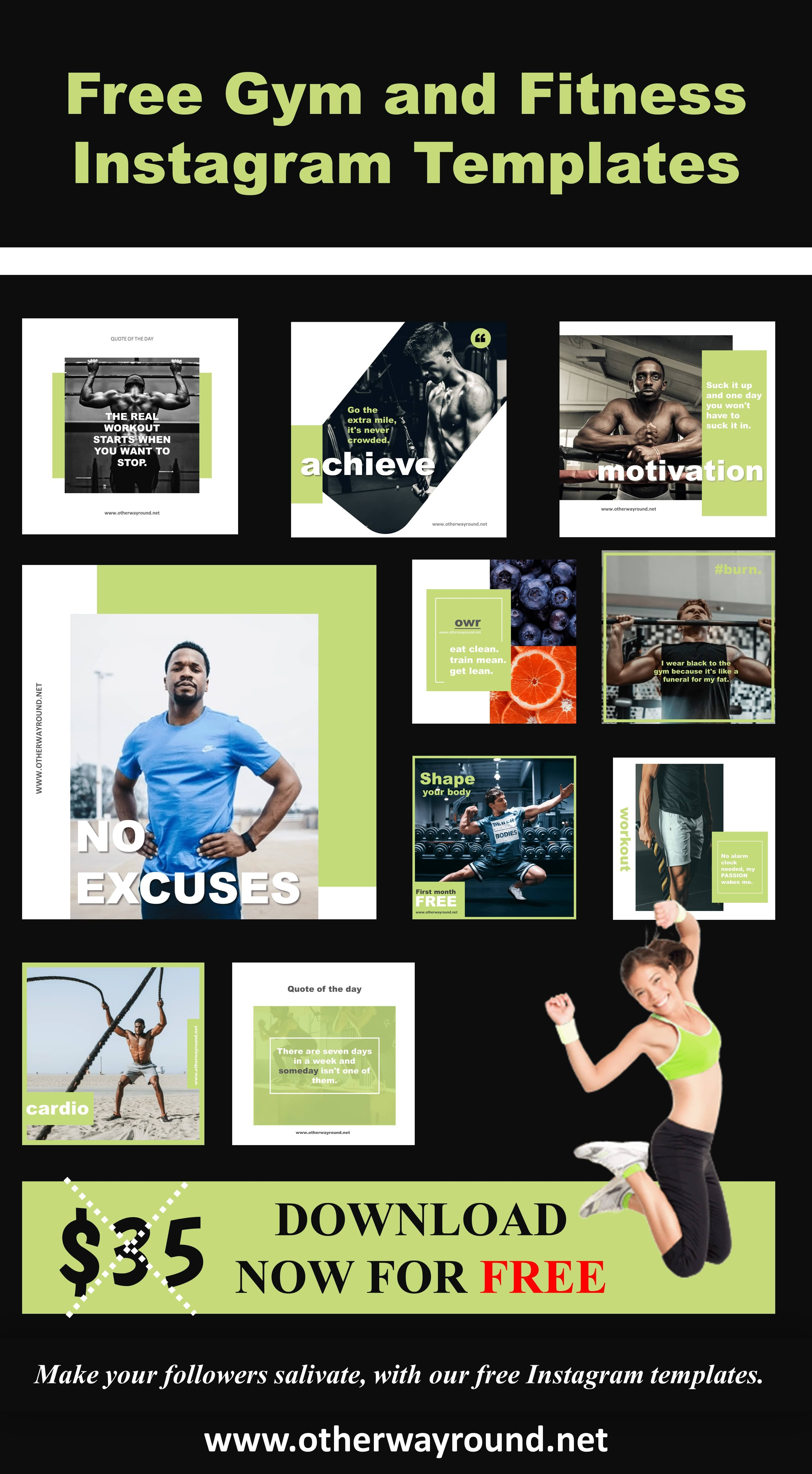 Free Gym And Fitness Instagram Templates Instagram Banner Shablony