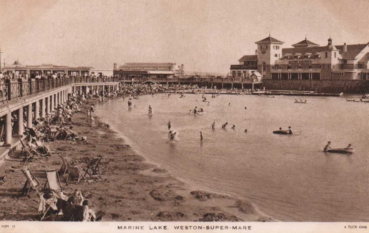 swimming pool weston super mare england 1930s postcard