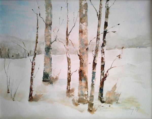Aspen Trees In Winter Watercolor Tree Watercolor Painting