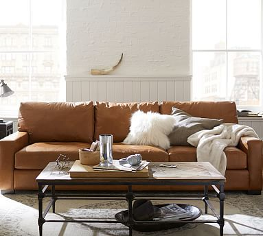 Quick Ship Turner Square Arm Leather Sofa Potterybarn