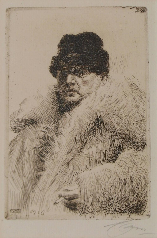 Anders ZORN/Self Portrait with Fur Jacket