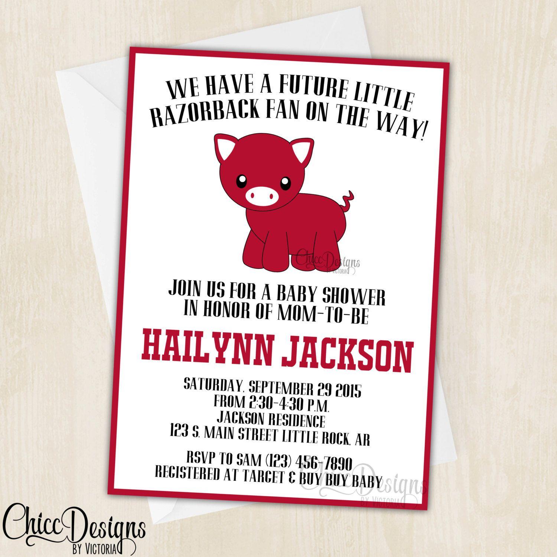 Razorback Baby Shower Invitation - Cute Pig - Razorback Fan ...