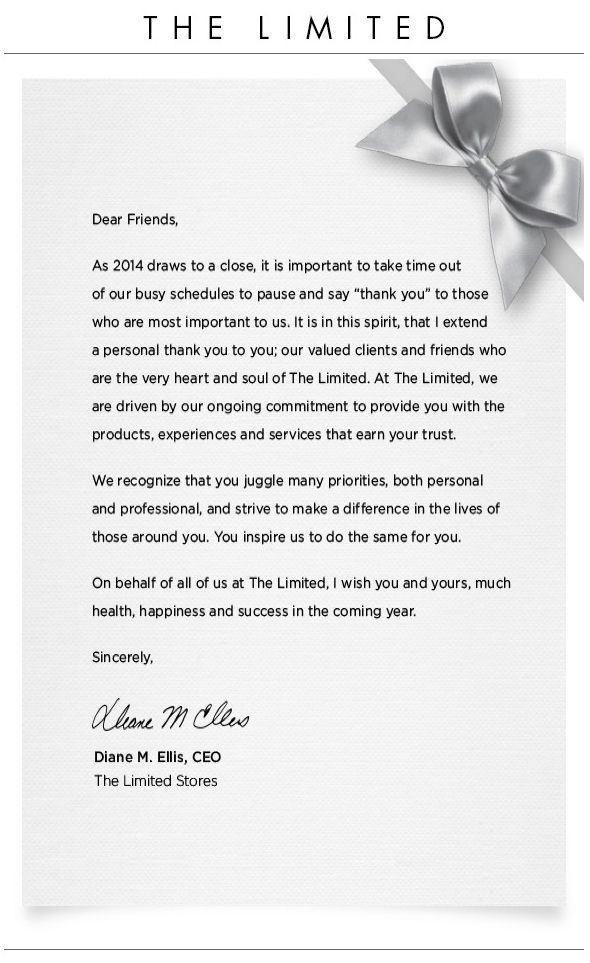 The Limited  Holiday Letter  Email Design  Inspiration