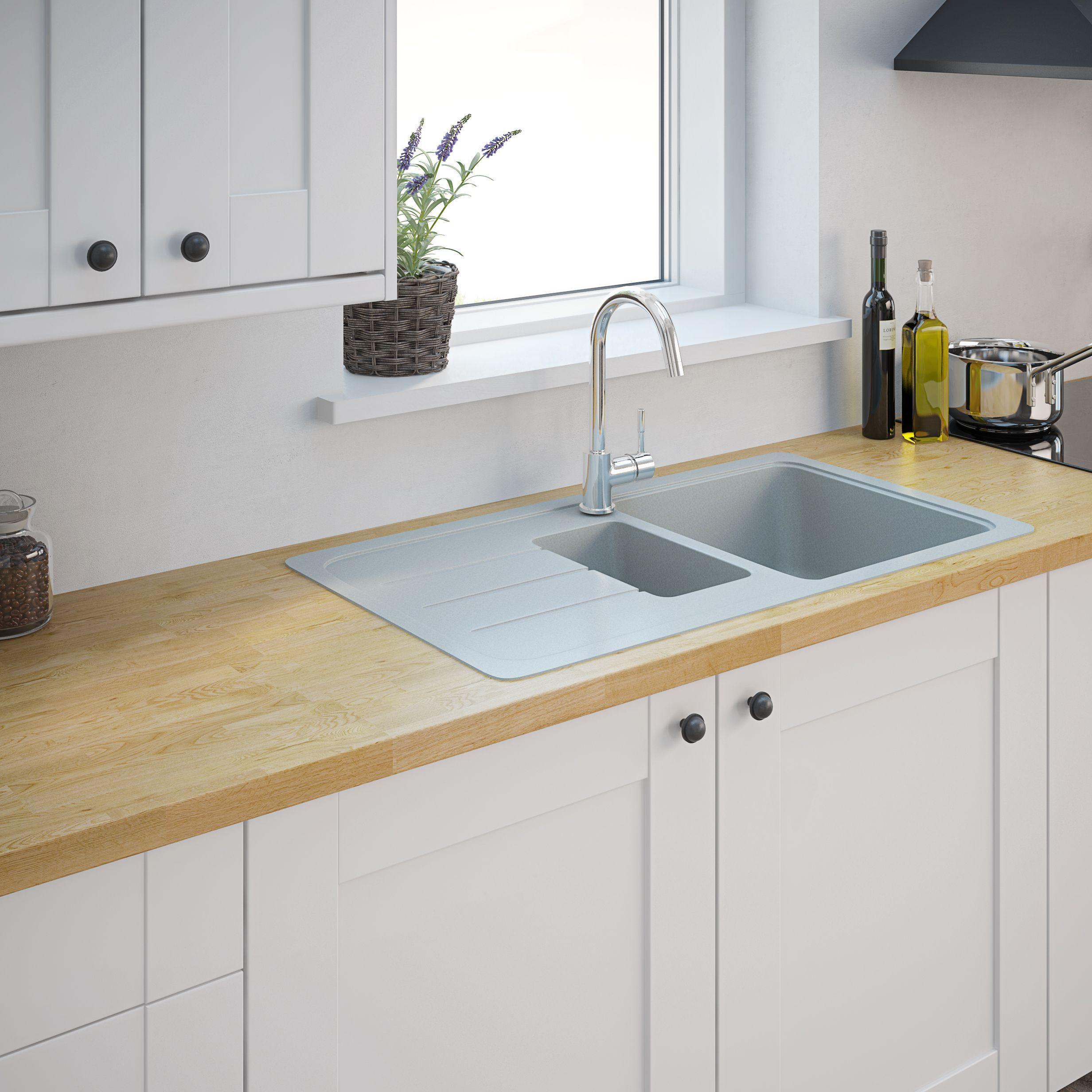 Kitchen Image By Natalie Glover In 2020 Sink Drainer Composite Kitchen Sinks Bowl Sink