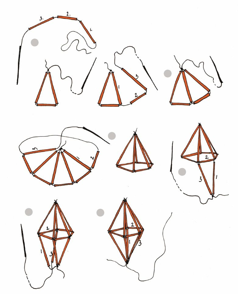 geometric straw diamond tutorial   Scribd - I am obsessed with himmeli mobiles now.