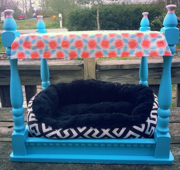 Recycled Doggie bed I made from an old end table I already had. Just turned it upside down, painted it, and added a canopy. Voila. Cute as can be & easy!