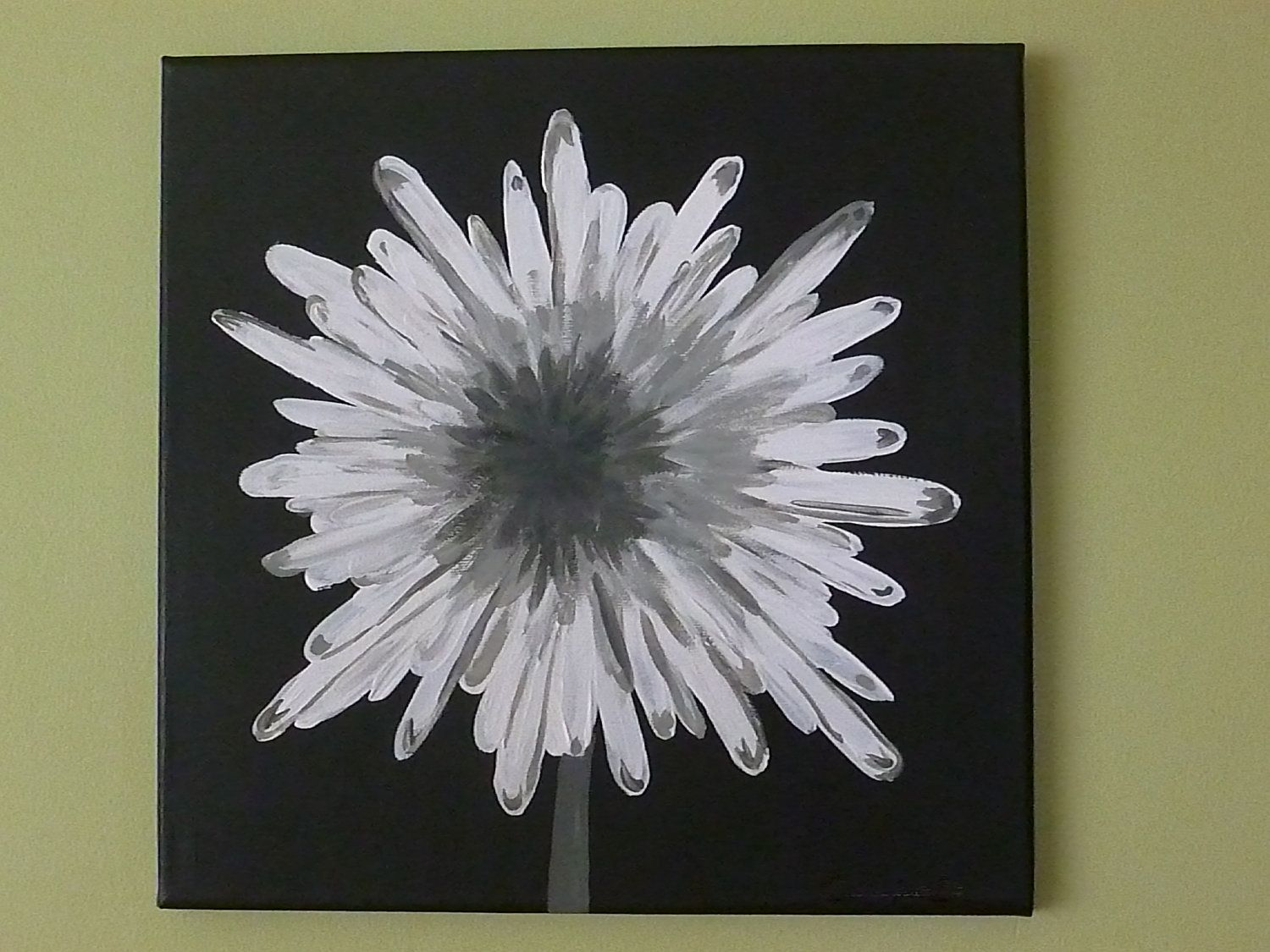 painted canvas white and gray modern flower acrylic painting