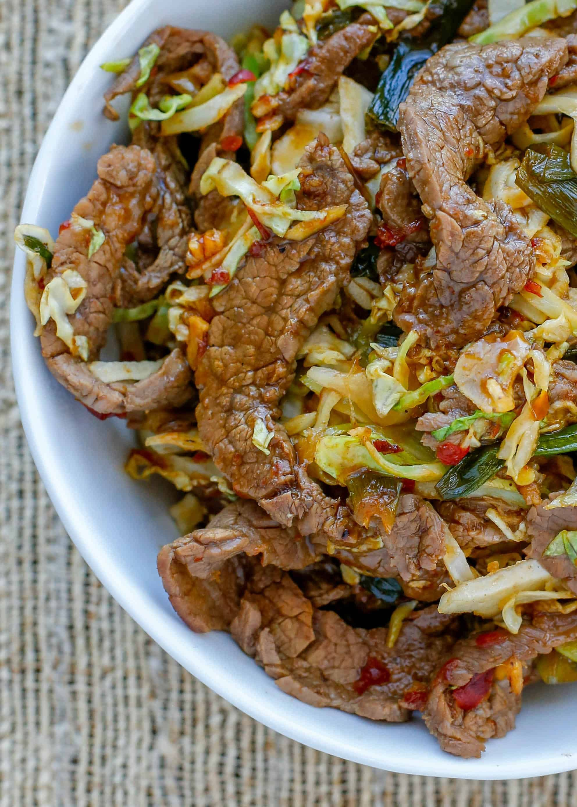 sweet and slightly spicy mongolian beef with noodles