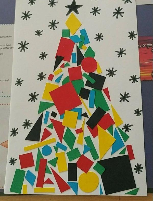 activité manuelle maternelle Noël figures géométriques #petitbricolage #activitemanuellenoelmaternelle