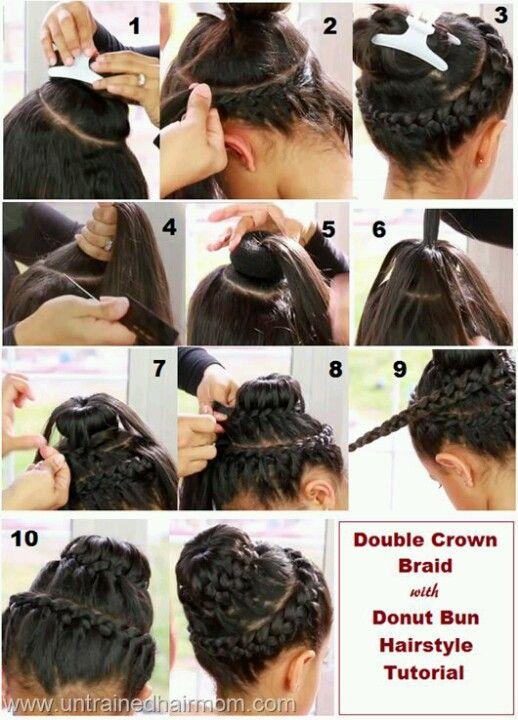 Double Crown Braid Bun Hair Bun Tutorial Hair Tutorial