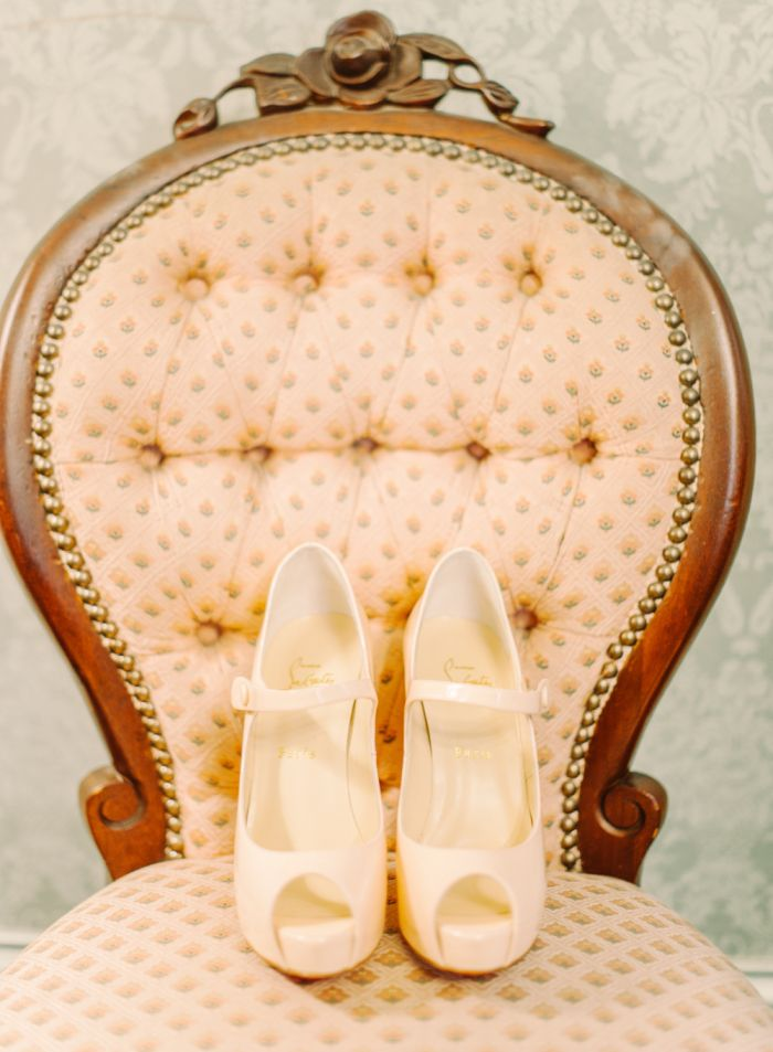 Louboutin bridal shoes | Rustic Glamour Ranch Wedding in shades of white, soft pink, and peach