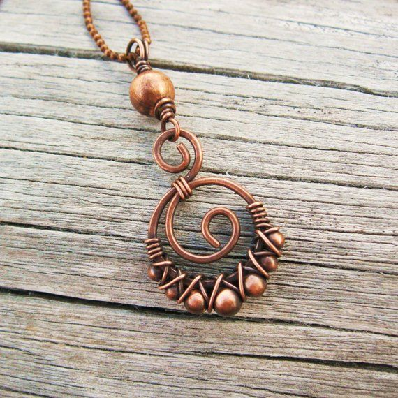 Photo of Copper Wire Bead Wrapped Double Swirl Pendant Necklace
