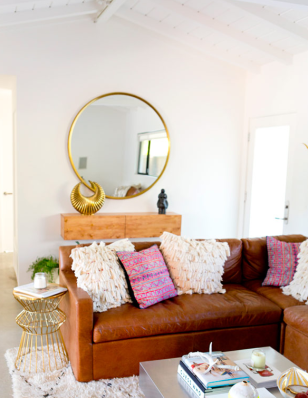 Eclectic Living Room. This post breaks down how to get this room yourself.