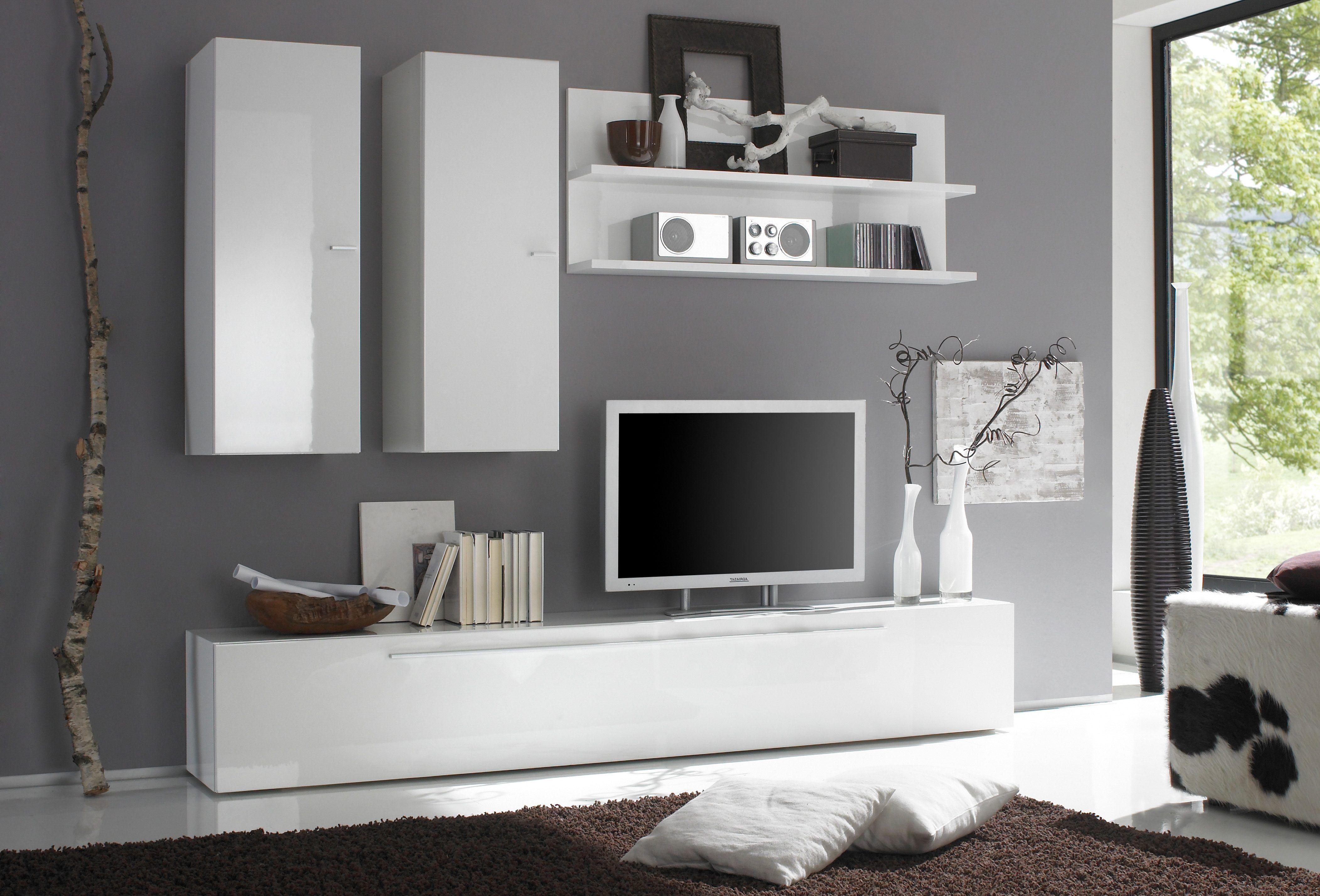 Wohnzimmer Wohnwand ~ Lc wohnwand weiß hochglanz jetzt bestellen unter moebel