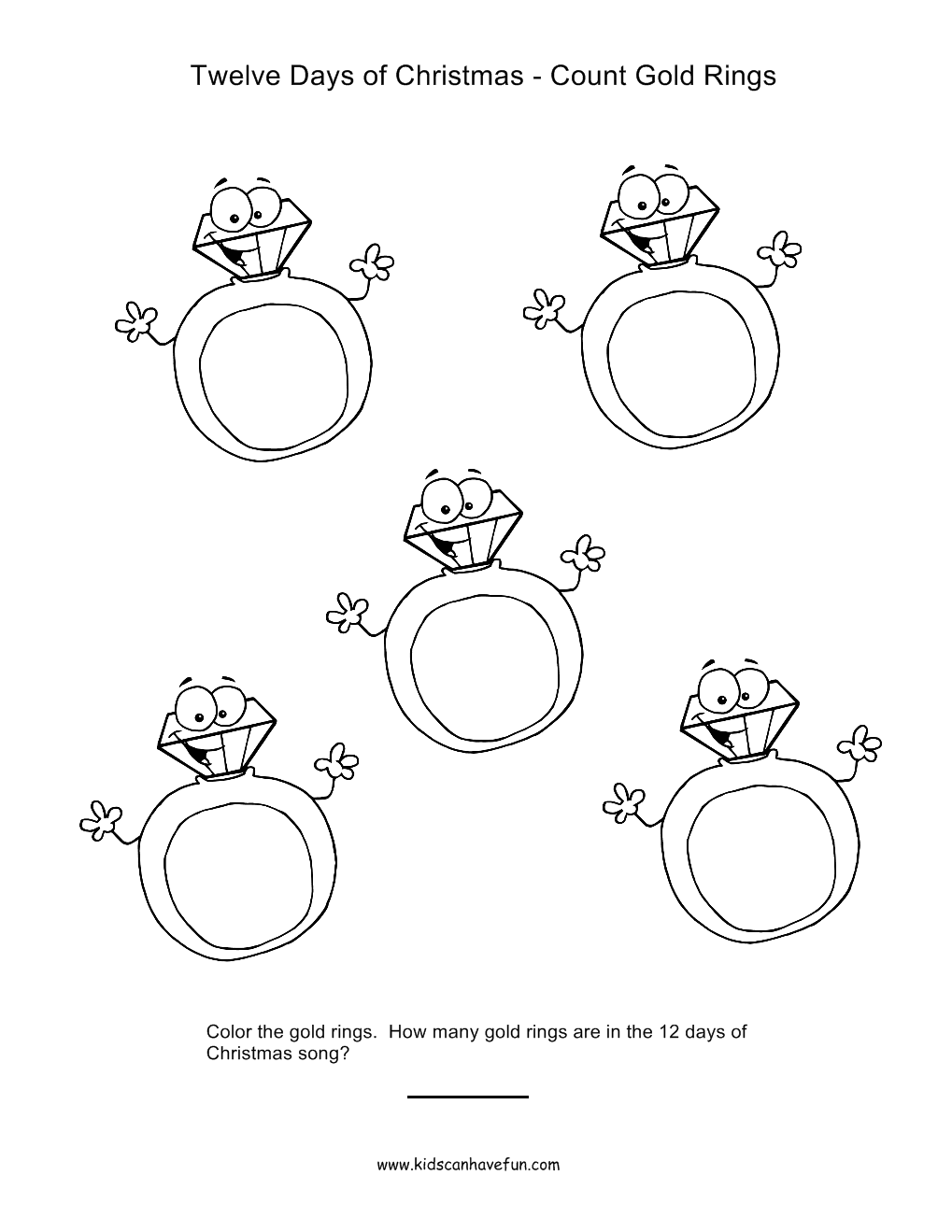 12 Days of Christmas Count and Color Golden Rings Worksheet http ...