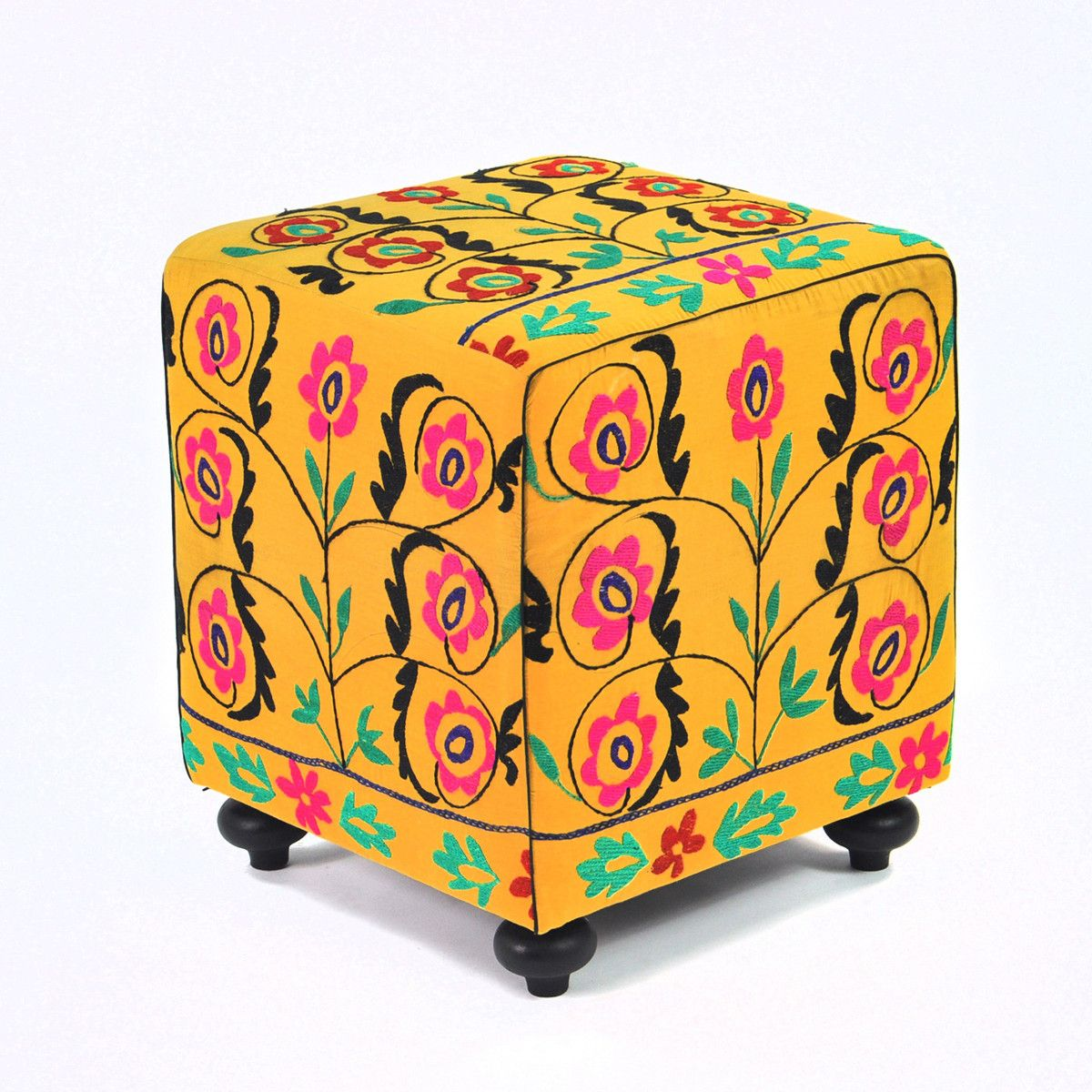 Estas Suzani Cube by Found Object