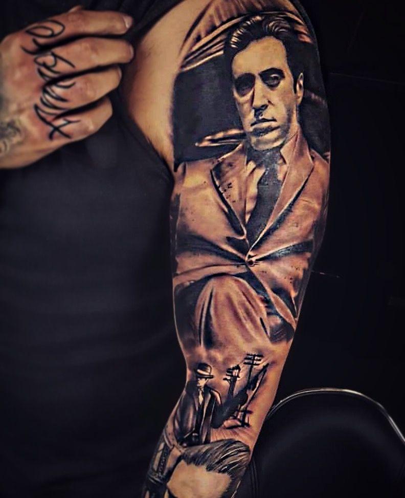 b6239e575 Godfather tattoo gangster sleeve | Tattoo Art | Godfather tattoo ...