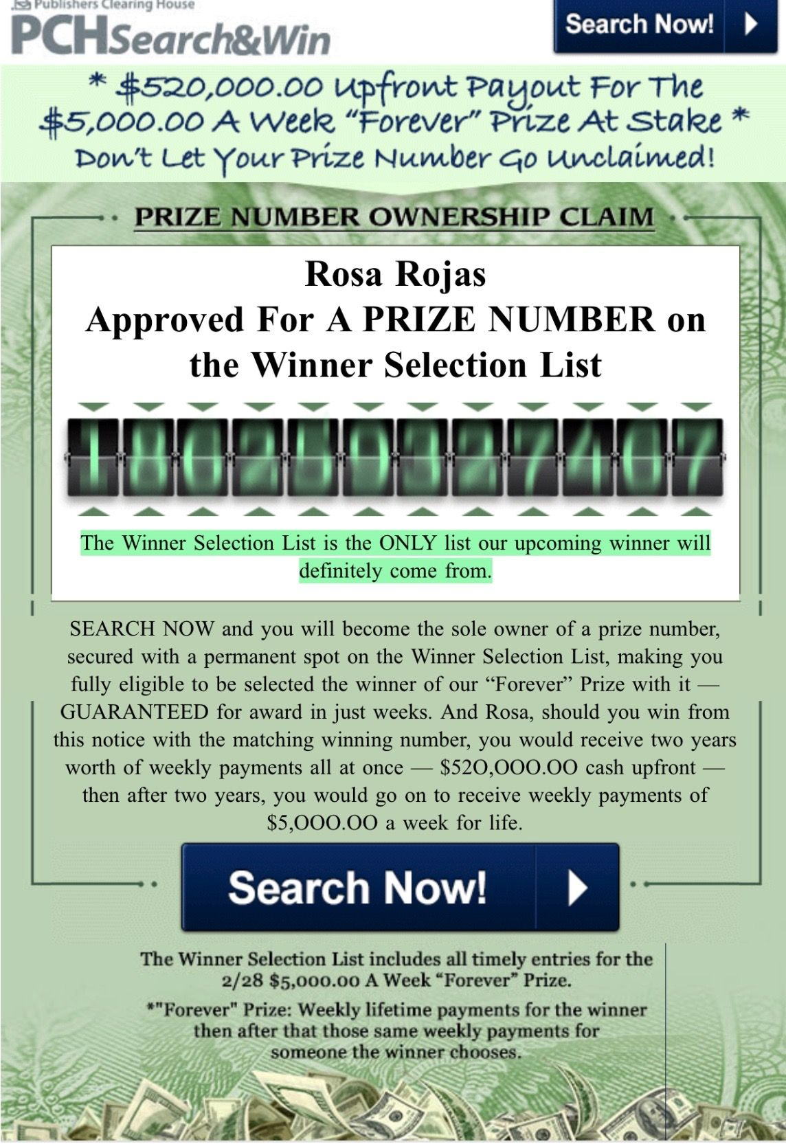 PCH PRIZE NUMBER CLAIM REQUEST I ROSA ROJAS CLAIM MY